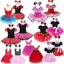 Girls Kids Toddler Baby Minnie Mouse Fancy Dress Outfit Costume Ears Age 12M-8Y