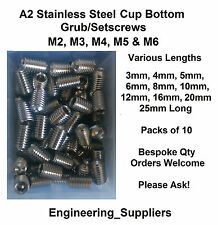 A2 Stainless Steel Socket Cup Grub Setscrews M2 M3 M4 M5 M6 3mm to 25mm long
