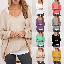 Oversized Womens Loose Long Sleeves Shirts Blouse Baggy Tops Batwing Jumper