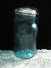"""ATLAS"" E-Z SEAL GLASS TOP QUART BLUE FRUIT JAR Top is Clear Bottom Blue RARE"