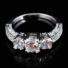 10KT Size 6-9 Jewelry White Gold Filled Ring White Sapphire Wedding Band Ring