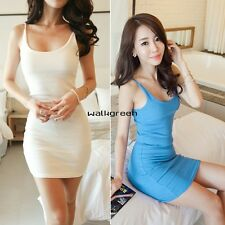 Sexy Women Camisole Vest Straps Long  Hot Tank Top Sleeveless Slim Mini Dress WN