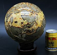 20Lb Awesome Polished Dragon Septarium Septarian Crystal Sphere Ball/Wood Base