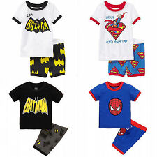 Summer Spider-man Batman Kids Boys T-shirts Shorts Set Outfits Clothes 1-8Y