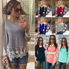 Women Boho Lace Crocheted Long Sleeves Casual Tee Tops T-shirt Thin Blouses