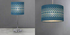 Stunning Half Moon Cutout Table Lamp Matching Light Shade New Blue Teal