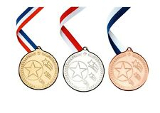 Multi Sport Shooting Star Metal Medals Gold, Silver, Bronze FREE RIBBONS & P&P!