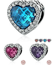 Radiant Hearts Silver Heart Charms For European Charms Bracelets S925