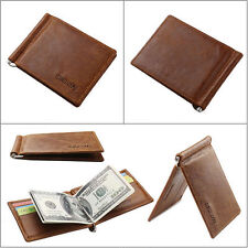 New Mens Leather Bifold ID Credit Card Holder Purse Brown Billfold Wallet
