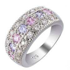 Female Pink Purple Zircon Ring 925 Silver Filled Promise Engagement Ring Sz 6-10