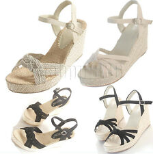 Womens Ankle Strap Peep toe Wedge Heel Platform Espadrilles Sandals Woven shoes