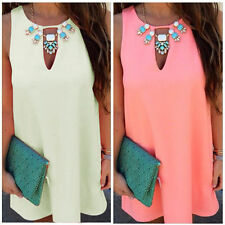 Women BOHO Blouse Tee Ladies Chiffon Summer Long Top Sleeveless Mini Dress
