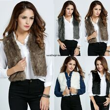 Women Sleeveless Vest Coat Jacket Sexy Overcoat Faux Fur Warm Waistcoat WN