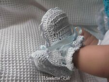 Baby girls/boys Traditional Thread crochet booties in white or blue 0/3 months