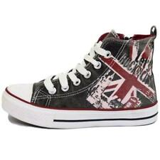 KIDS CHILDRENS HI-TOP CANVAS UNION JACK BOOTS TRAINER SHOES PLIMSOLL PUMPS 12-5