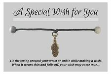WISH BRACELET / ANKLET Antique Bronze Tone Feather Charm on Hemp Friendship