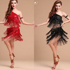 Sequined Women Latin salsa tango rumba Cha cha Ballroom Dance Dress Mini Dress