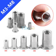 20pc M3-M8 Flat Head Blind Rivets Nuts Threaded Nutserts Rivnuts Stainless Steel