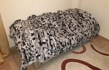 New Grey White Rex Fur Blanket  Available in Throw Twin Queen or King Size
