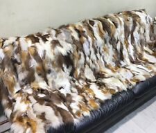 New Red and Cross Fox Fur Blanket  Available in Throw Twin Queen or King Size
