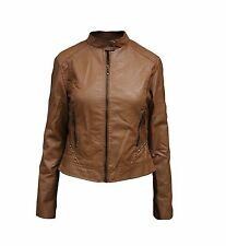 Ladies Fashion PU Faux Leather Outerwear Motorcycle Style Jacket
