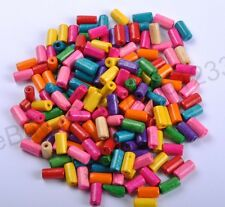 Wholesale 100pcs Bright Color Wooden tubular Wood Beads 12X6MM 14 Colours