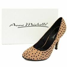 WOMENS NUDE SLIP-ON SPOTTY COURT STILETTO SMART WORK EVENING SHOES PUMPS 3-8