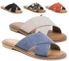 LADIES FLAT SLIPPER STRAPPY MULES PEEPTOE CASUAL SUMMER SANDALS BEACH SIZE