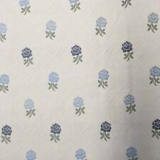 """Blue Roses Diamond Check Striped Double Sided Drapery Fabric By The Yard 54""""W"""