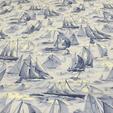 "Blue /White Sailboat Toile Cotton Clothing / Drapery Fabric By The Yard 54""W"