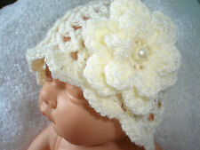 HANDMADE Crochet Knitted Acrylic Lacy Baby Hat / Layered Flower & Pearl