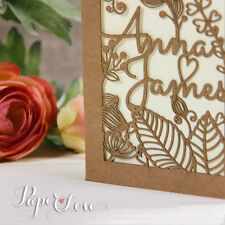 Rustic Chabby Shic Laser cut Personalised Wedding Invitation Free P&P