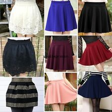 New Women Fashion Candy Color Waist Plain Rivet Pleated Bubble Mini Skirt WN