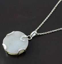 Natural White Druzy 27mm Round Cabochon Gemstone 925 Sterling Silver Pendent