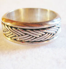 Sterling Silver Rotating Center Band Ring, 10.2  Grams, Size 9