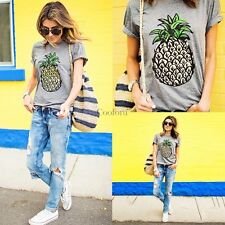 Women Fashion Casual Round Neck Short Sleeve Pineapple Print T-Shirt Top Tee