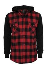 Urban Classics Hooded Flannel Checked Sweat Sleeve Shirt TB513 Black Red Black