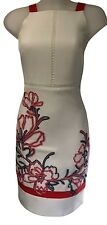 Womens Karen Millen Floral Ribbon Embroidery Pencil Dress 10 White Red Black New