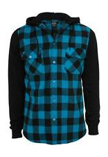 Urban Classics Hooded Flannel Checked Sweat Sleeve Shirt TB513 Black Turquoise B