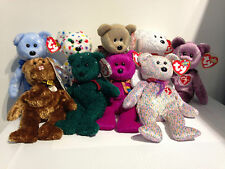 TY Beanie Babies - England Sheets 1999 2000 2001 Holiday Signature Bear. BNWT.