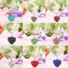Charming Women Rhinestone Crystal Alloy Heart Necklace Jewelry Pendant Chain WN
