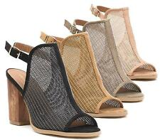 Womens Ladies Cut Out Mesh Open Toe Wooden Block Heel Ankle Buckle Sandal Shoes