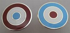 MOD TARGET BADGE - X2 IN WEST HAM ICF BURNLEY ASTON VILLA COLOURS 12 16 20MM DIA