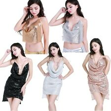 Sleeveless Deep V Halter Split Sequin Dress Backless Metal Neck Party Dress