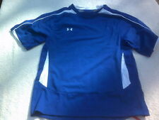 NWT Under Armour short sleeve youth T, white, blue, soccer, Girl's M, Heat Gear