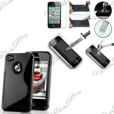 Case Cover TPU Silicone Gel Apple iPhone 4 4S 4G + Film Toughened Glass
