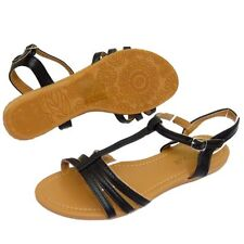 WOMENS BLACK FLAT FLIP-FLOP SHOES GLADIATOR SUMMER HOLIDAY BEACH SANDALS 3-8