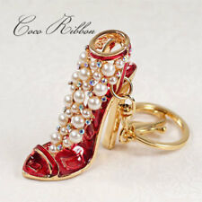 Rhinestone High Heel Pearl Fashion Shoe Gold Alloy Key Chain Ring Keychain