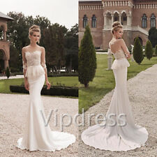 Elegant Mermaid Wedding Dresses Lace Apppliques 3/4 Sleeve Crystals Bridal Gowns