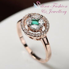 18K Rose Gold GP Made With Swarovski Crystal Exquisite Star Emerald Halo Ring
